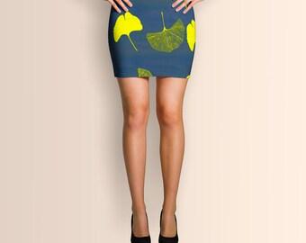 Ginkgo leaves, Mini Skirt