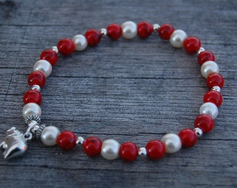 Elephant Charm Bracelet,Red Coral gemstone beads,Glass Bead,Man,Woman,health,Relieve,Protection,Yoga,Stretch,Men,Women,Protection,Meditation