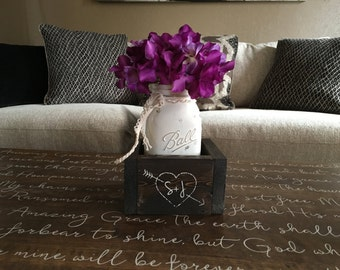 Rustic Centerpiece, Wedding Table Centerpiece, Rustic Wedding Table Decor, Wedding Table Decorations, Personalized Planter Box w/ Mason Jar