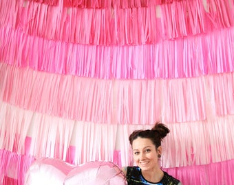 Valentines Day Decor Backdrop Fringe Curtain, Photo Booth Prop, Photography backdrop, Dessert Table Decor, Wedding and Party Decorations