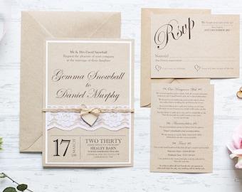 Wedding invitation, Rustic wedding invitation, Shabby chic invitation, lace wedding invitation, handmade invitation