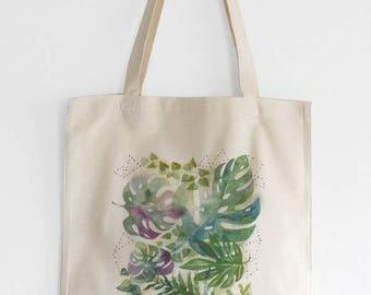 Monstera tropical tote bag, Monstera tote, Tropical illustration bag, Jungle leaves print, Green leaves tote, Green shopping bag, Watercolor