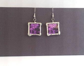 Purple Petunia Flower Earrings, Dangle Earrings; Simple Elegance; Gift Wrapping Available