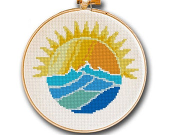 Sun Rising over Ocean Waves Cross Stitch Pattern for Instant Download, modern cross stitch, summer home dorm decor, vacation ocean sea beach