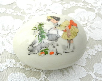 Collectible Ridgewood Porcelain Easter Egg, 1976, girl & bunny, Easter gift, Eggs from 'Round the World