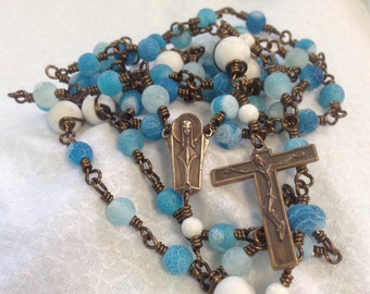 Retro Powder Blue Wire Wrapped Unbreakable Rosary