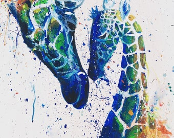 Mel and Sue,        Giraffe Print, Giraffe art, African Art, Safari Art, Safari Painting, Giraffe Painting, mother and baby, love
