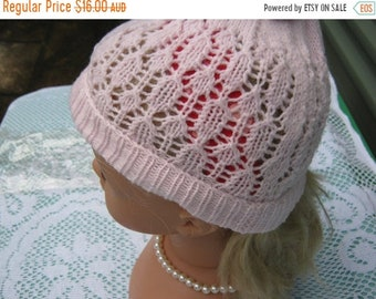 ON SALE Vintage Style - Gorgeous Hand Knitted Pink Baby Hat for Baby up to 6 mths, or Doll.