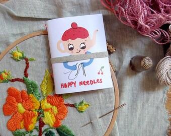 Sewing needle case. Teapot. Embroidery needle holder. Retro Needle Book. Sewing kit. Travel needle case. Gift for sewer. Needle organizer.