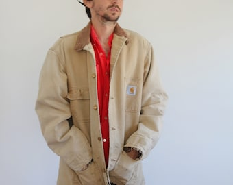 Distressed Canvas Carhartt Blanket Lined Beige Field Jacket Mens Large