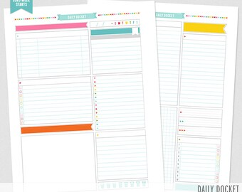 UNplan Daily Docket - Planner Page Printables PDF - 5 Sizes - instant download