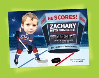 Hockey Invitation - Hockey Party - Hockey Birthday - Tailgate - Sports Birthday - Printable Party - Ice Hockey - USA Hockey