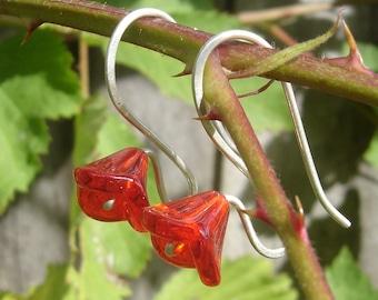 Long Stem Berry Red Glass Flower Earrings, Sterling Silver Wire Czech Glass Jewellery, Spring Flower Jewelry, Red Flower Earrings Women Teen