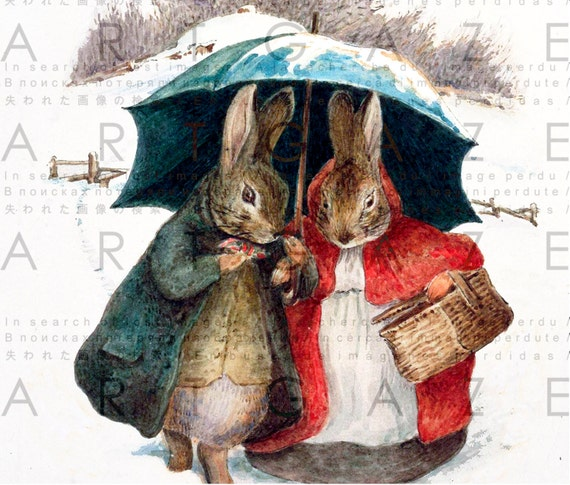 sweet christmas rabbits beatrix potter illustration  fairy