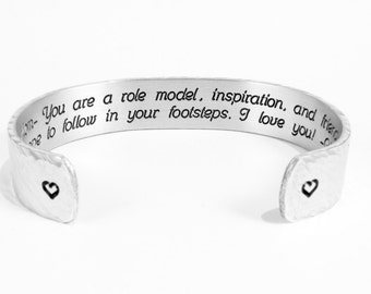 "Mom Gift from Son or Daughter ~ Mom- You are a role model, inspiration, and friend.  I hope to  ... ~ Mother's Day Gift 1/2"" message cuff"