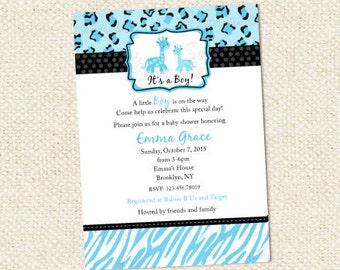 Blue Safari Baby Shower Invitations