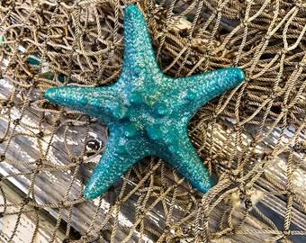 Mermaid, Ariel, Beach, Bridal Sparkly Teal Silver Starfish Hair Clip