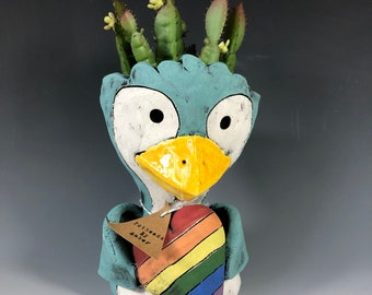 Pride Penguin // Succulent Planter // Rainbow Heart // Love is Love // Rainbow // Adorable // Small Sculpture // Planter // Succulent Pot