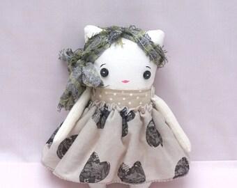 Pussy Cat Ragdoll - Soft Cloth Doll - Handmade Ragdoll - Gift for Her - Nursery Décor Girls - Plush Doll
