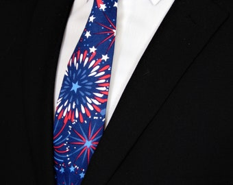 4th of July Necktie – Mens Red White and Blue Independence Day Tie.