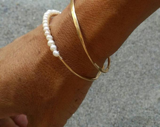 Gemstone Bangle, Pearl Bracelet, Sterling Silver, 16K Gold Fill, Stacking Bangle, Beaded, Gold Bangle, Silver Bangle