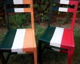 Chairs with flags couple - Ireland & Italy