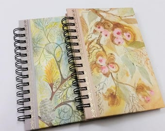 Set of 2 flower patterned recycled notebooks, journals