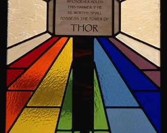 "Thor Artwork Bifrost Rainbow Bridge Mjolnir Hammer Inspired Stained Glass Framed approx 24"" x 31"" - Pick up/local delivery only NO SHIPPING"