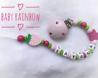 Pacifier with name Strawberry pink wood beads