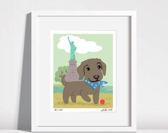 Chesapeake Bay Retriever Pup, Statue of Liberty - 8x10 art print
