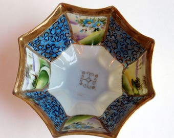 """Vintage Antique Nippon Te-Oh China Hand-Painted Porcelain Pedestal Bowl - Octagon w/ Hand-Painted Panels, Gold Gilding w/ """"Bumps"""" 1890-1921"""