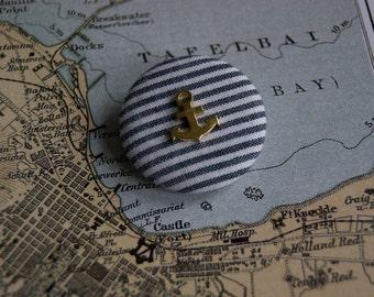 NAUTICAL ANCHOR fabric badge brooch