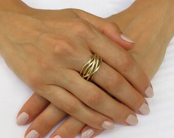 Gold wire wrapped jewelry, Statement gold ring, Wire wrapped ring, Modern wedding ring, Gold Wire ring, Statement wedding ring