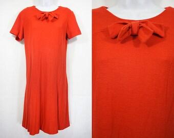 Vintage 60's SEARS FASHION Orange Soft Wool Dress M