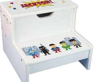 Personalized Superhero Asian Childrens Step And Storage Stool