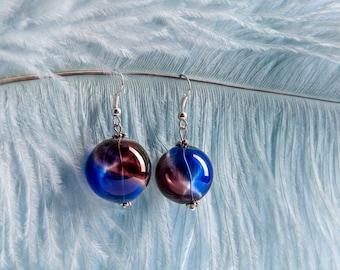 Dark Blue Earrings, Lampwork Earrings, Blue Red Earrings, Bubble Earrings, Romantic Gift, Charity Earrings, Charity Donation