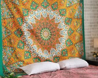 Orange Green Star Hippie Indian Handmade Mandala Tapestry Queen Size Wall Hanging Multi Purpose