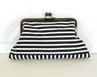 Black & White Stripe Clutch