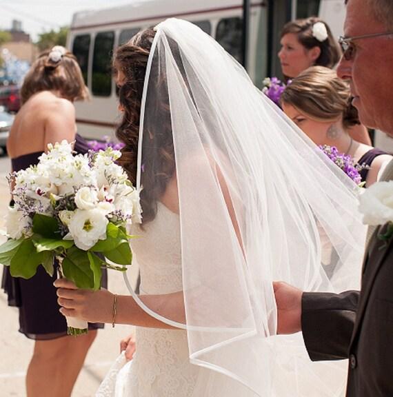 Wedding Veil with Ribbon Trim