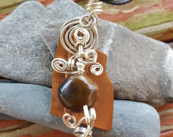 Copper, silver and Kentucky coffee bean  pendent.