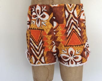 1970's Mens Orange Hawaiian Swim Trunks Mod Psychedelic Swimsuit Size Medium Large by Maeberry Vintage