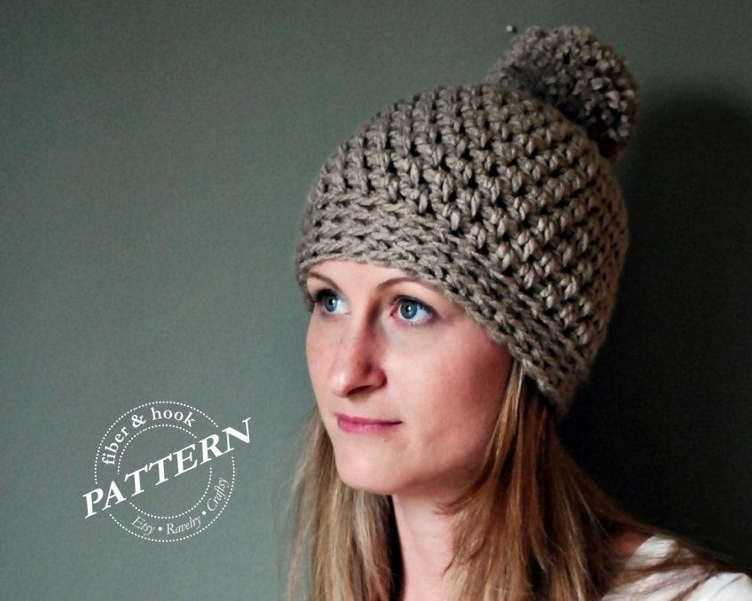Crochet Pattern Chunky Pom Pom Beanie Crochet Pattern