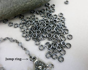 4mm 19G Gun Metal Jump Rings, Round Open Rings, 100 Pieces, Ready to Ship