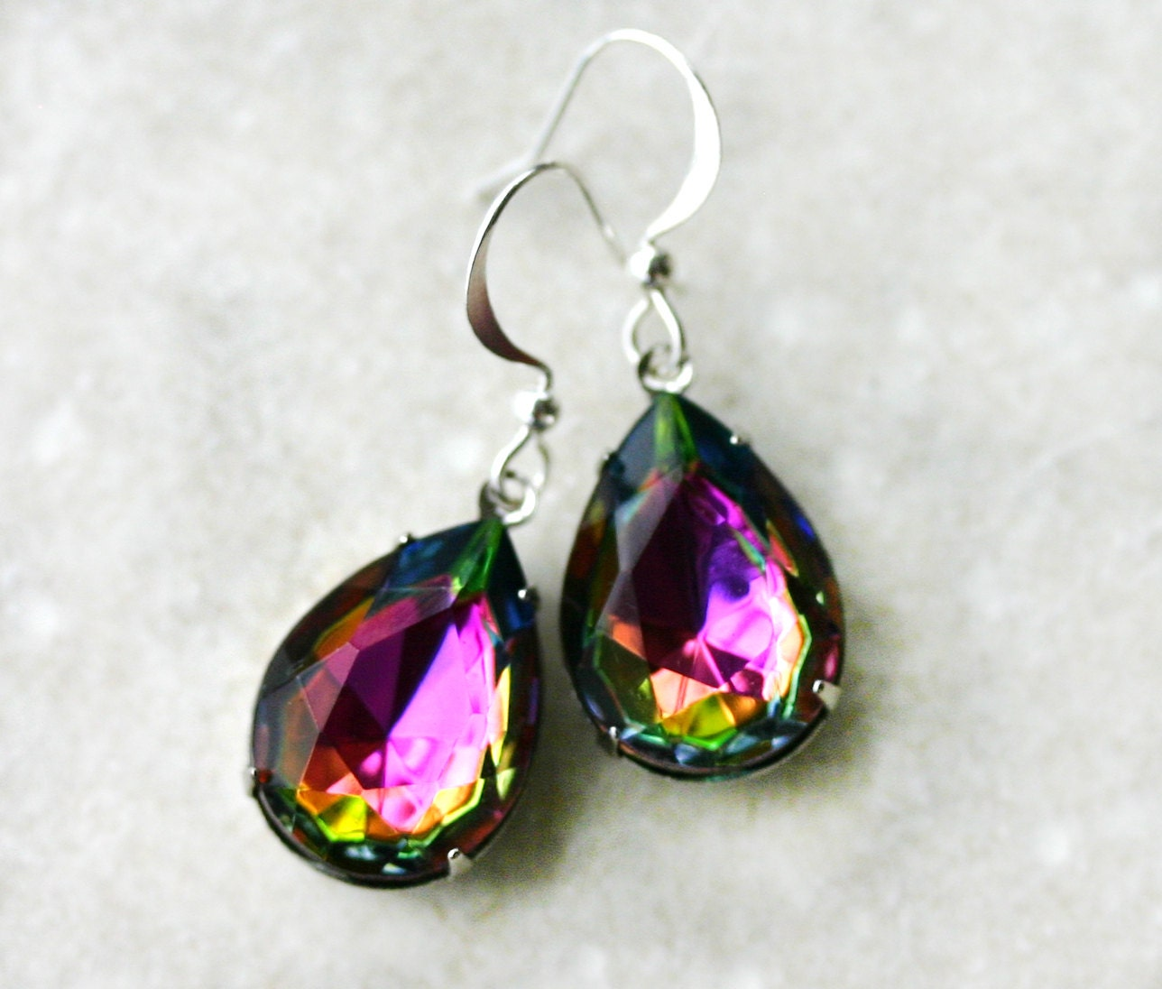gemstone topaz hook earrings mystic round