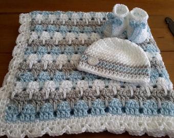 baby boy blanket, crochet stripe, crochet blanket, afghan crochet, crocheted blanket, crocheted afghan, blue gray & white