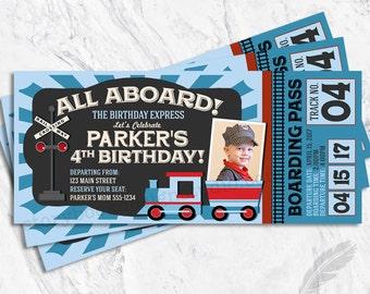 Train Birthday Party Ticket Invitations, baby shower, digital file or printed, chugga chugga, all aboard