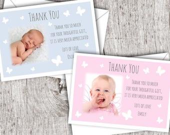 Personalised Photo THANK YOU Cards inc. envelopes - Flat Style - Baby/Child/Boy/Girl
