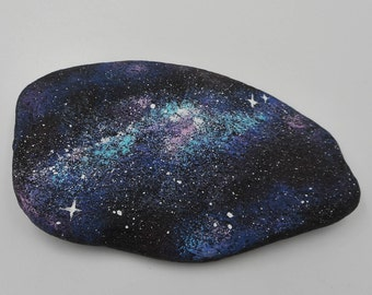 Galaxy stone hand painted rock garden art home decor universe paperweight