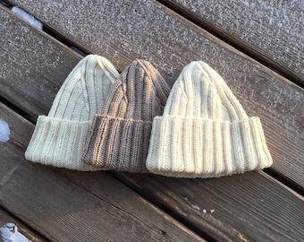 Knit Cap / Watch Cap / Wool Cap / Men's Knit Cap / Ribbed Cap / Hand Knit Wool Cap / Navy Watch Cap / Rib Knit Cap