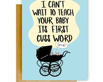Funny Baby Card, Funny Expecting Card, Pregnancy Congrats Card, Baby Shower Card, Funny New Baby Card, New Parents Card, Baby Card, Funny